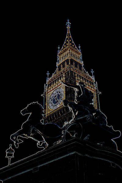 Wall Art - Digital Art - Big Ben And Boudica Statue by David Pyatt