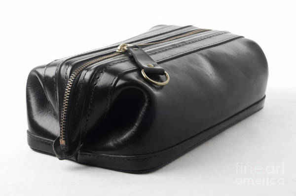 Wallet Wall Art - Photograph - Black Leather Bag by Blink Images