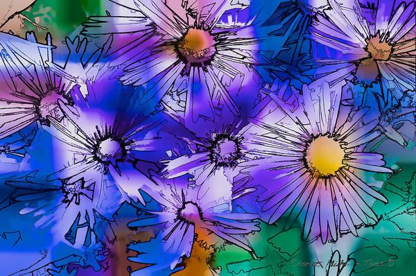 Digital Art - Blue Asters by Charles Muhle