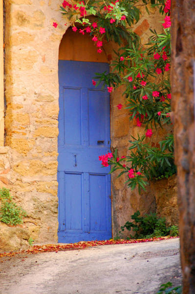Lourmarin Photograph - Blue Door With Pink Flowers by Christianna Pierce