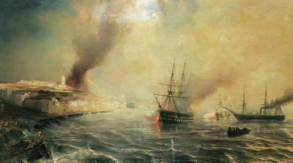 Wall Art - Painting - Bombardment Of Sale by Jean Antoine Theodore Gudin