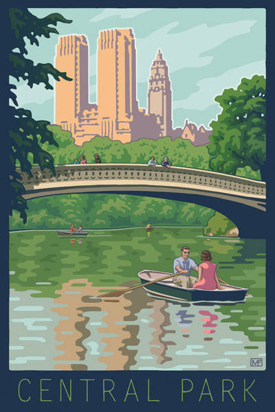 Boats Digital Art - Bow Bridge In Central Park by Mitch Frey
