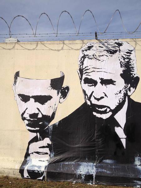 Streetart Mixed Media - Bush Obama Mask by Dustin Spagnola