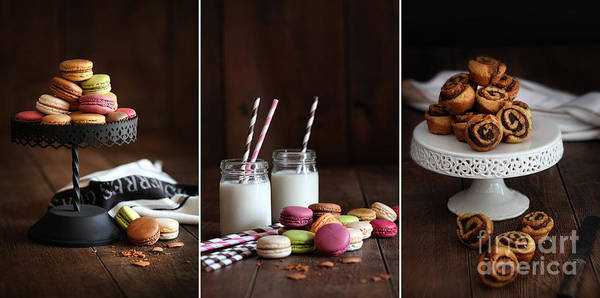 Photograph - Cake Stand With Macaroons On Dark Wood Background by Sandra Cunningham