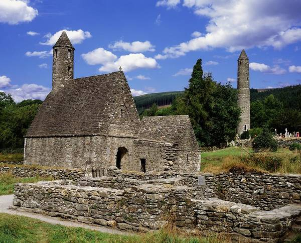 Horizontally Photograph - Chapel Of Saint Kevin At Glendalough by The Irish Image Collection