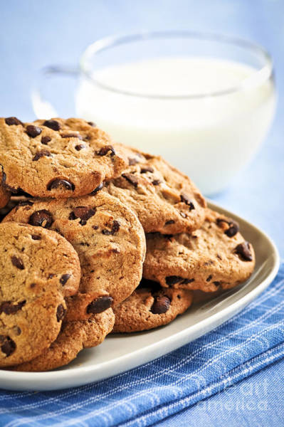 Wall Art - Photograph - Chocolate Chip Cookies And Milk by Elena Elisseeva