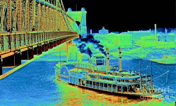 Houseboat Photograph - Cincinnati Suspension Bridge And Steamboat 1906 by Padre Art