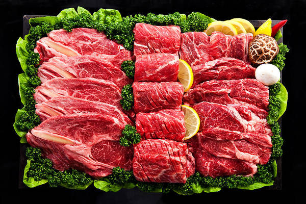 Raw Meat Photograph - Close-up, Meat And Vegetables by Multi-bits