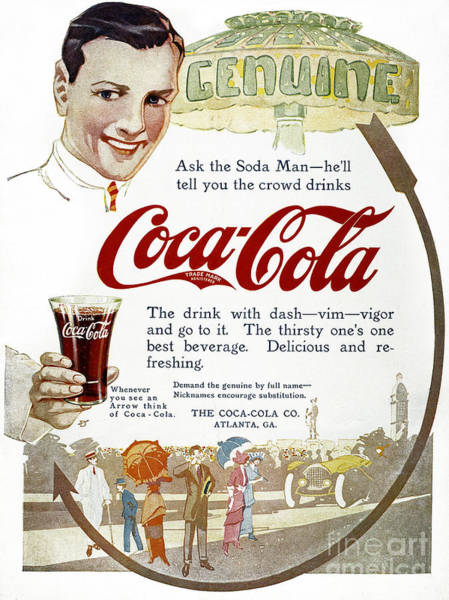 Photograph - Coca-cola Ad, 1914 by Granger