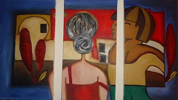 Interaction Painting - Couple On Window by Shakhenabat Kasana