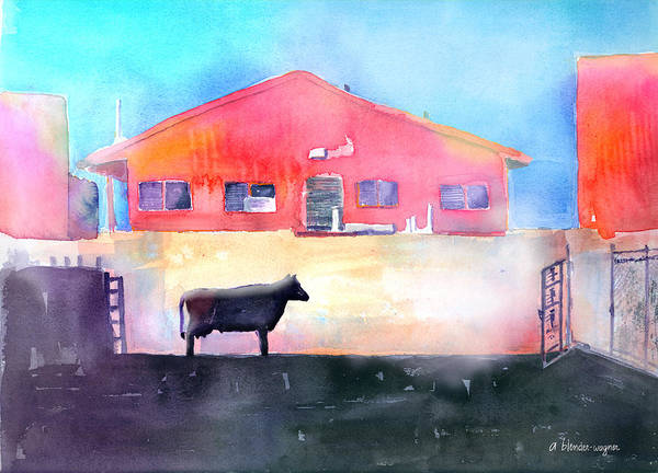 Wall Art - Painting - Cow Contemplating Her Escape by Arline Wagner