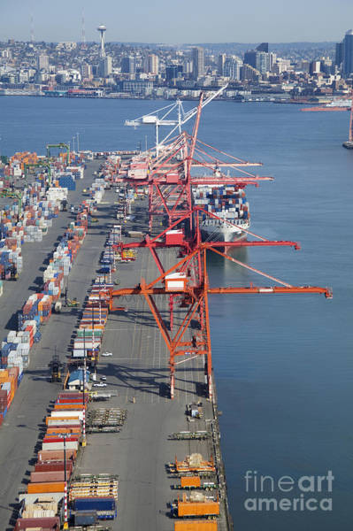 Call Building Photograph - Cranes At The Port Of Seattle by Don Mason
