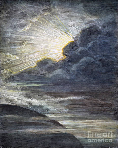 Drawing - Creation Of Light by Gustave Dore