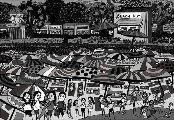 Wall Art - Drawing - Crowded Beach Black And White by Karen Elzinga