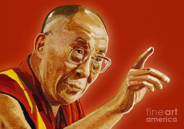 Chinese Buddha Painting - Dalai Lama by Setsiri Silapasuwanchai