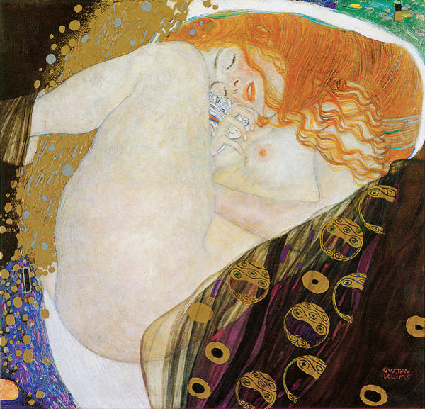 Curl Up Painting - Danae by Gustav Klimt