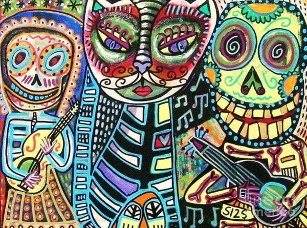 Painting - Day Of The Dead Cat Serenade by Sandra Silberzweig