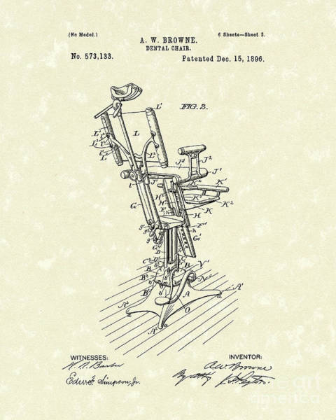 Drawing - Dental Chair 1896 Patent Art by Prior Art Design