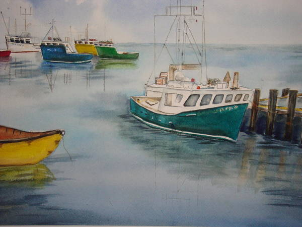 Wall Art - Painting - Docking At Peggy's Cove by Veronica Reid-Donald