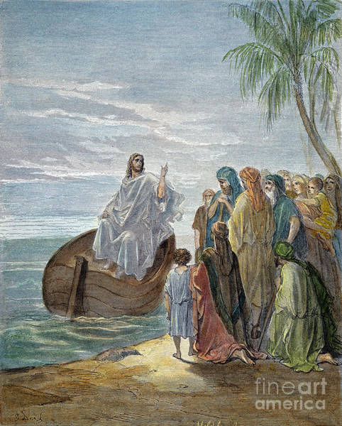 Wall Art - Drawing - Jesus Preaching by Gustave Dore