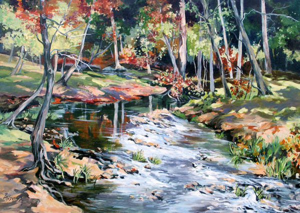 Sand Creek Painting - Fall Colors 2 by Rae Andrews