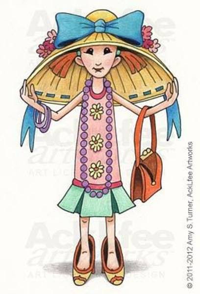 Laugh Drawing - Feenie - All Dressed Up by Amy S Turner