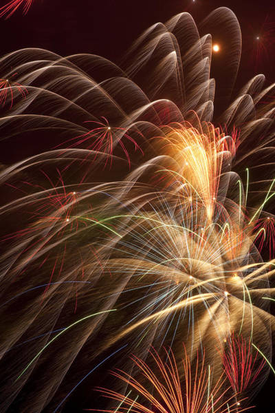 Fireworks Display Wall Art - Photograph - Fireworks In Night Sky by Garry Gay