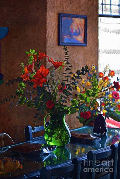 Photograph - Flowers On A Glass Table by John  Kolenberg