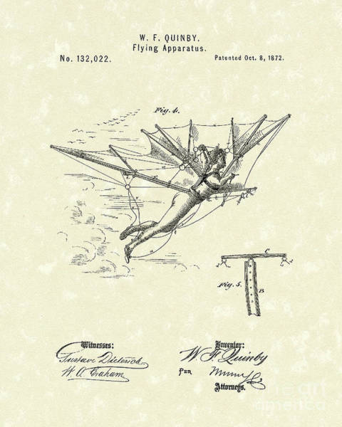 Drawing - Flying Apparatus 1872 Patent Art by Prior Art Design