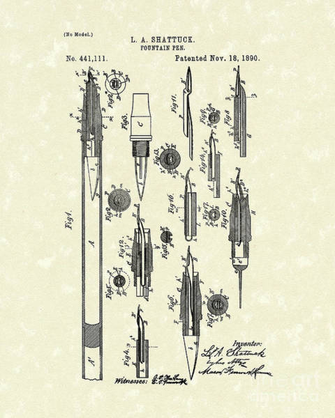 Ink Pen Drawing - Fountain Pen 1890 Patent Art by Prior Art Design