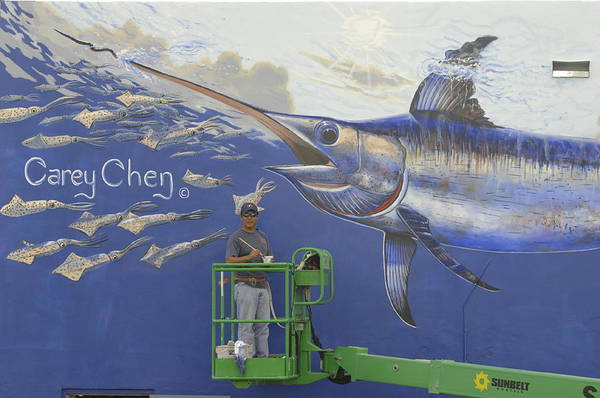 Mural Painting - Gray Taxidermy Mural by Carey Chen