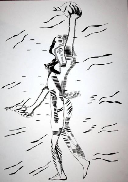 Drawing - Gumbe Dance - Guinea-bissau by Gloria Ssali