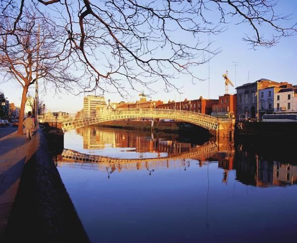 Horizontally Photograph - Hapenny Bridge, River Liffey, Dublin by The Irish Image Collection