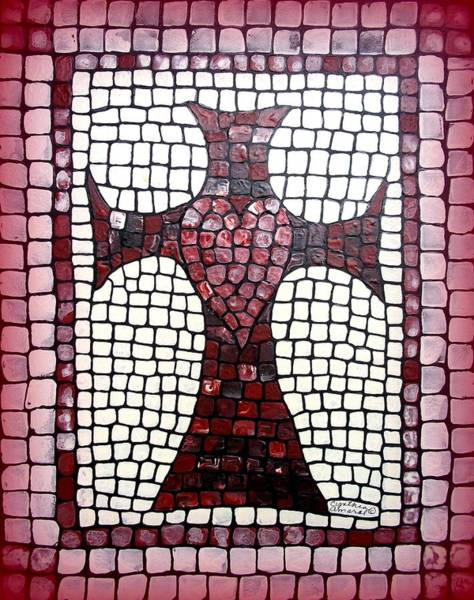 Art Print featuring the painting Heart Cross by Cynthia Amaral