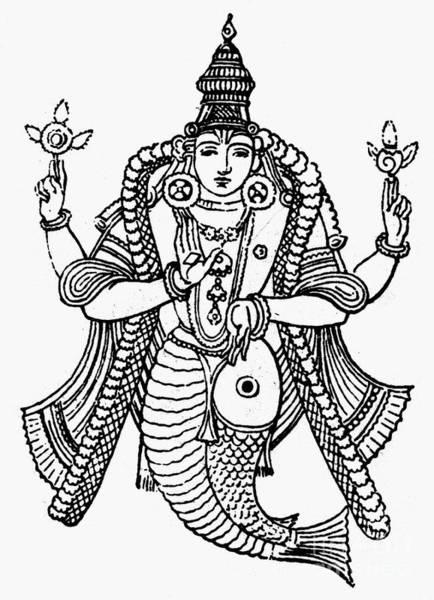Photograph - Hinduism: Vishnu by Granger