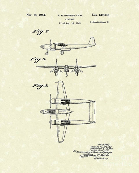 Airplane Drawing - Howard Hughes Airplane 1944 Patent Art   by Prior Art Design