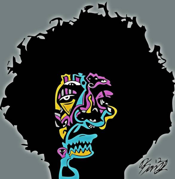 Popstract Digital Art - Jimi Hendrix by Kamoni Khem