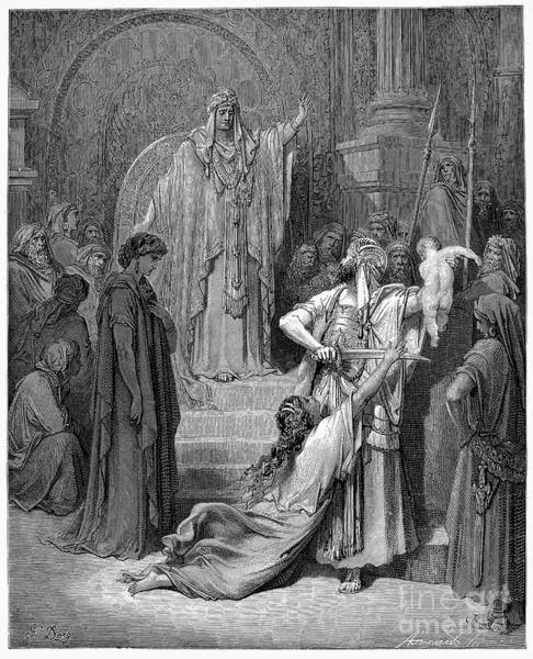 Royal Court Drawing - Judgement Of Solomon by Gustave Dore