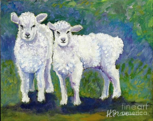 Holly Brannan Wall Art - Painting - Lambs by Holly Bartlett Brannan