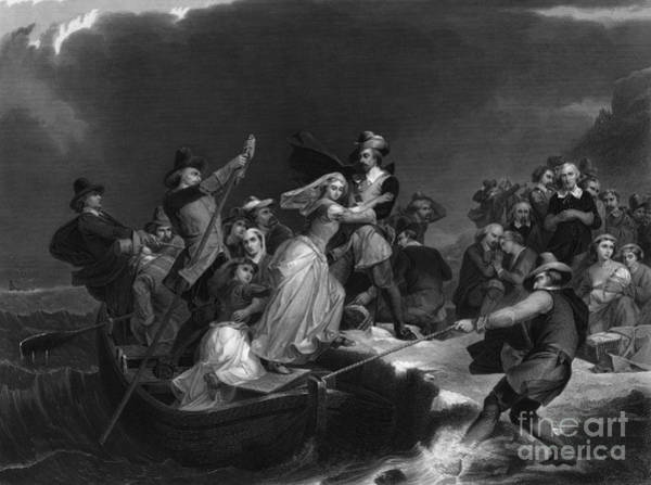 Plymouth Rock Photograph - Landing Of The Pilgrims On Plymouth by Photo Researchers