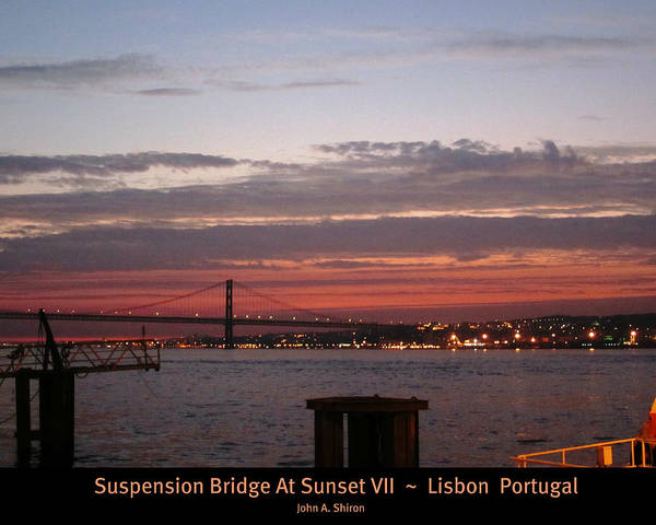 Photograph - Lisbon Suspension Bridge At Sunset Vii Portugal by John Shiron