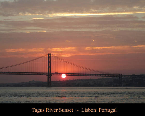 Photograph - Lisbon Tagus River Sunset Portugal by John Shiron