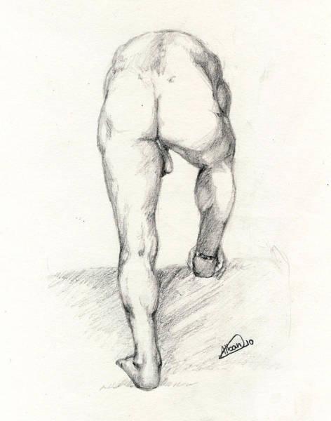 Male Model Drawing - Live Nude Model by Alban Dizdari