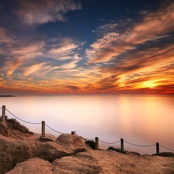 Wall Art - Photograph - Long Exposure Of Last Night's Sunset by Larry Marshall
