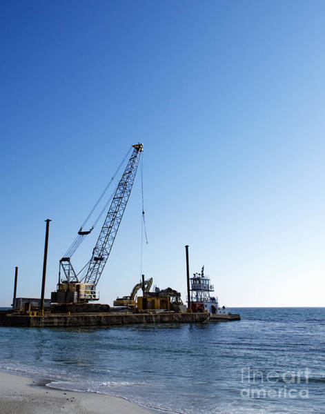 Excavator Photograph - Machinery Cleaning Up A Pier by Skip Nall