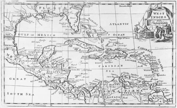 Old West Drawing - Map Of The West Indies Florida And South America by English School