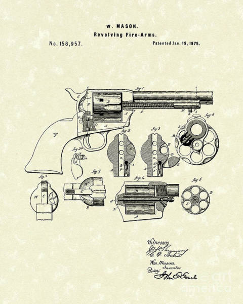 Antique Firearms Wall Art - Drawing - Mason Revolving Fire-arm 1875 Patent Art by Prior Art Design