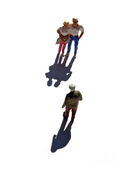 Saying Photograph - Miniature Figurines Couple Watching Elderly Man by Bernard Jaubert