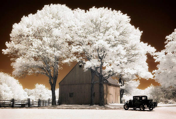Photograph - Model 'a' And Old Barn by Steve Zimic