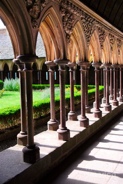 Abbey Photograph - Mont Saint Michel Cloister  by Elena Elisseeva